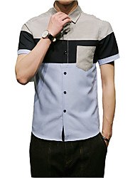Men's Business Daily Casual Simple Shirt,Color Block Shirt Collar Short Sleeve Oxford Polyester Taffeta