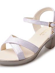 Women's Sandals PU Summer Walking Beading Chunky Heel Gold Purple Blue 3in-3 3/4in