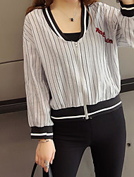 Women's Casual/Daily Simple Summer Jacket,Striped V Neck Long Sleeve Short Polyester