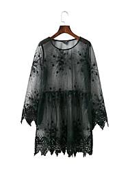 Для женщин На выход На каждый день Простое Уличный стиль Свободный силуэт Прямое Кружева Платье Однотонный Вышивка Кружева Печать,Круглый