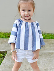Girls Fashion Stripe Stripes Loose T-shirt SetsCotton Cotton Blend Summer Fall Short Pant Kids Baby Clothing Set
