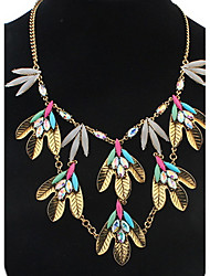 Euramerican Luxury Elegant Resin Leaves Dangling Style  Lady Daily Necklace Movie Jewelry