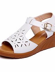 Damen Sandalen Komfort Leder Sommer Normal Komfort Keilabsatz Weiß Schwarz 5 - 7 cm