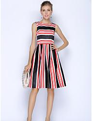 SHE'SWomen's Work Simple A Line DressGeometric Round Neck Knee-length Sleeveless Polyester Summer High Rise Inelastic Thin
