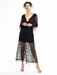 Women's Party Sexy Lace Dress Solid Sequins Mesh Tassel Split Deep V Maxi Polyester White /Beige /Black Spring /Summer High Waist