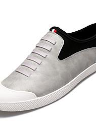 Men's Athletic Shoes PU Spring Summer Low Heel Black Gray Dark Brown Under 1in