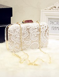 Women Bags All Seasons Silk Evening Bag with Lace for Event/Party Date Party & Evening White