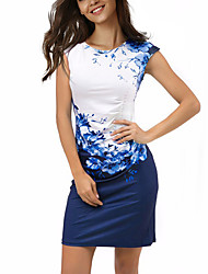 Women's Boho Sheath Dress,Floral Color Block Round Neck Above Knee Short Sleeves Polyester Spandex Summer Mid Rise Micro-elastic Thin