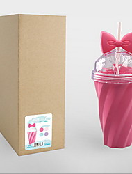 Summer Ice Cool Cup Simple Handy Juice Cup Small Fresh Candy Color Girl Heart Bowknot Tube Water Cup