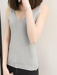 Damen Solide Einfach Alltag Normal Tank Tops,Rundhalsausschnitt Ärmellos Baumwolle