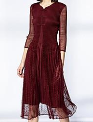 Miyake spring new women's temperament ladies Chinese style net yarn Slim lace pleated long dress