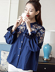 Women's Other Casual Simple Summer Fall Shirt,Solid Embroidery Round Neck Long Sleeve Cotton Thin