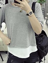 Damen Solide Einfach T-shirt,Rundhalsausschnitt Sommer Kurzarm Baumwolle Dünn