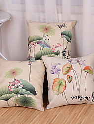 Set Of 3 Chinese Style Lotus Flowers Pillow Cover Creative Printing Cotton/Linen Pillow Case Cushion Cover