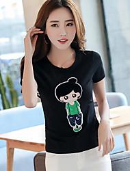 Damen Muster Zeichen Niedlich Normal T-shirt,Rundhalsausschnitt Sommer Kurzarm Baumwolle