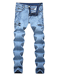 High Quality Fashion Men's High Elasticity Straight Pants Hole Patch Ripped Jeans Slim fit Patchwork Zipper print denim pants Fashion long trousers