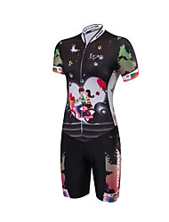 Tri Suit Women's Short Sleeves Bike Triathlon/Tri Suit Anatomic Design Moisture Permeability Front Zipper High Breathability (>15,001g)