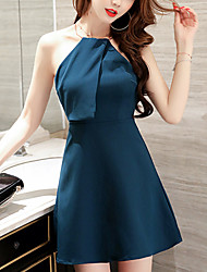 Women's Party Special Occasion Valentine Date Sexy Street chic Sophisticated Sheath Dress,Solid Halter Mini Sleeveless OthersSpring