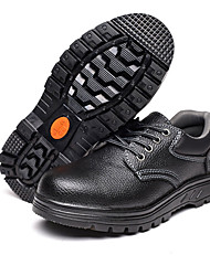 Men Sneakers Comfort Nappa Leather Summer Fall Outdoor Casual Work & Safety Low Heel Black/Yellow Black Under 1in