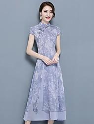 Feminino Rodado Vestido,Casual Floral Colarinho Chinês Médio Manga Curta Poliéster Verão Cintura Média Sem Elasticidade Fina