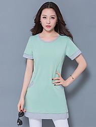 T-shirt Da donna Casual SempliceMonocolore Rotonda Cotone Manica corta
