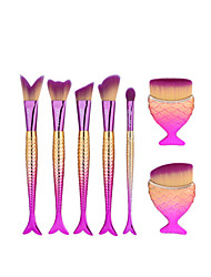 7Pcs Pink Fish Shape Makeup Fan Brush Professional Mermaid Soft Eye Cosmetics Beauty Make Up Brushes Set Kabuki Kit Maquiagem