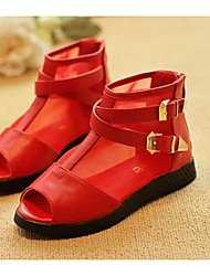 Girls' Flats First Walkers Leatherette Spring Fall Outdoor Casual Walking Magic Tape Low Heel Screen Color Red Black Flat