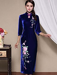 Femme Velours/Broderie Gaine Robe Décontracté/Quotidien/Grandes Tailles Chinoiserie,Broderie Mao Maxi Manches ¾ Bleu/Rouge Soie AutomneTaille