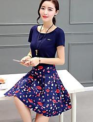 Feminino Túnicas Vestido,Para Noite Casual Moda de Rua Sofisticado Estampa Colorida Decote Redondo Médio Assimétrico Manga CurtaSeda