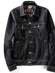 Men's Daily Modern/Comtemporary Spring Denim Jacket,Print Shirt Collar Long Sleeve Regular Cotton Others