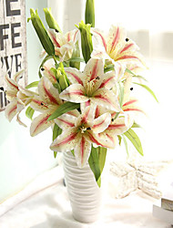 1 Branch Plastic Lilies Tabletop Flower Artificial Home Decoration Wedding Supplies Multi-color Optional  2 Head