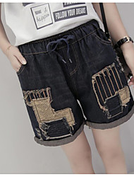 Women's Mid Rise Micro-elastic Jeans Shorts Pants,Simple Relaxed Color Block