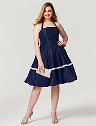 2017 TS Couture Plus Size Cocktail Party Dress - Open Back Elegant Princess Halter Knee Length Taffeta with Bow(s) Pleats