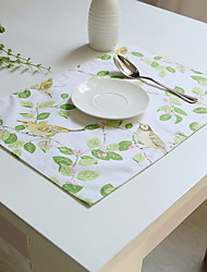 Bird And Flower Garden Pasta Cotton And Linen Material Modern Table Placemat 32*45cm
