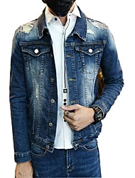 Men's Daily Casual Casual Classic & Timeless Spring/Fall Jacket,Solid Shirt Collar Long Sleeve Regular Oxford cloth