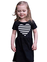 Girl's Solid Dress Cotton Spring Summer Short Sleeve Striped Heart Black Fashion Dresses for Kids Girls 2017
