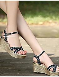 Women's Sandals Comfort PU Summer Casual Comfort Navy Blue White 1in-1 3/4in