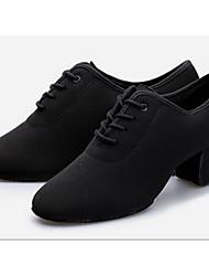 Women's Latin Oxford Fabric Heels Practice Black