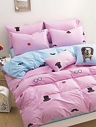 Two Color Patchwork 4 Piece Sets of Bed 100% Cotton Cloth 1pc Duvet Cover 2pc Sham 1pc Flat Sheet For 1.5-1.8 Meter Bed