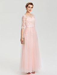 A-Line Jewel Neck Floor Length Tulle Evening Dress with Applique