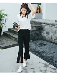 Women's High Waist Inelastic Bootcut Pants,Simple Bootcut Solid