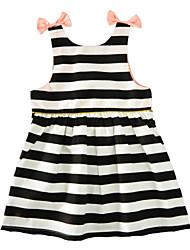 Girl's Striped Dress Cotton Summer Sleeveless Bow Baby Girls Dress Back Button Kids Clothes