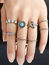 1Set Women's Ring Circular Metal Alloy Resin Rhinestone Alloy Circle Jewelry For Birthday Party/Evening Date