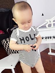 bebê Peça Única Fashion Listras Estampado Verão 100% Algodão Manga Curta