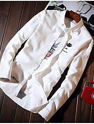 Masculino Camisa Social Casual Trabalho Simples Sólido Algodão Outros Colarinho de Camisa Manga Longa