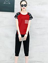 Manches Ajustées Pantalon Costumes Femme,Tartan Quotidien Moderne Eté Manches Courtes Col Arrondi