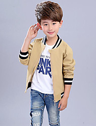 Boys' Stripes Patchwork Jacket & Coat,Rayon Spring Fall Long Sleeve