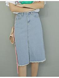 Women's School Midi Skirts A Line Solid Summer