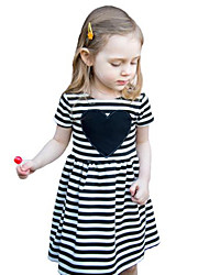 Girl's Striped Dress Cotton Summer Short Sleeve Heart 2017 New Fashion Kids Girls Dresses