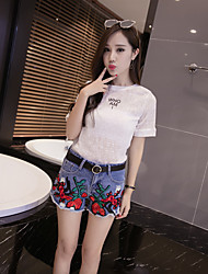 Women's High Waist Micro-elastic Jeans Shorts Pants,Chinoiserie Wide Leg Embroidery
